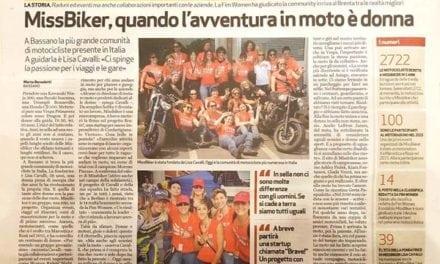 Articolo sulla community MissBiker su Il Giornale di Vicenza